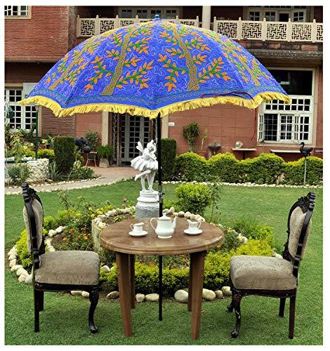 Decorative Indian Embroidered Outdoor Large Garden Umbrella Parasol Large