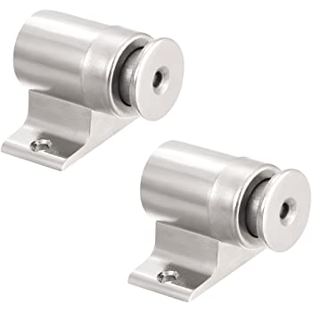 uxcell Magnetic Door Stop Catch Brushed Door Stopper Floor Mount Zinc Alloy Silver Tone 3pcs