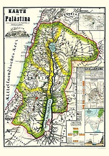 Historische Karte von PALÄSTINA 1869 (Plano): Mit Gesamtansicht von Jerusalem - Länder der Heiligen Schrift- Zug der Israeliten aus Ägypten