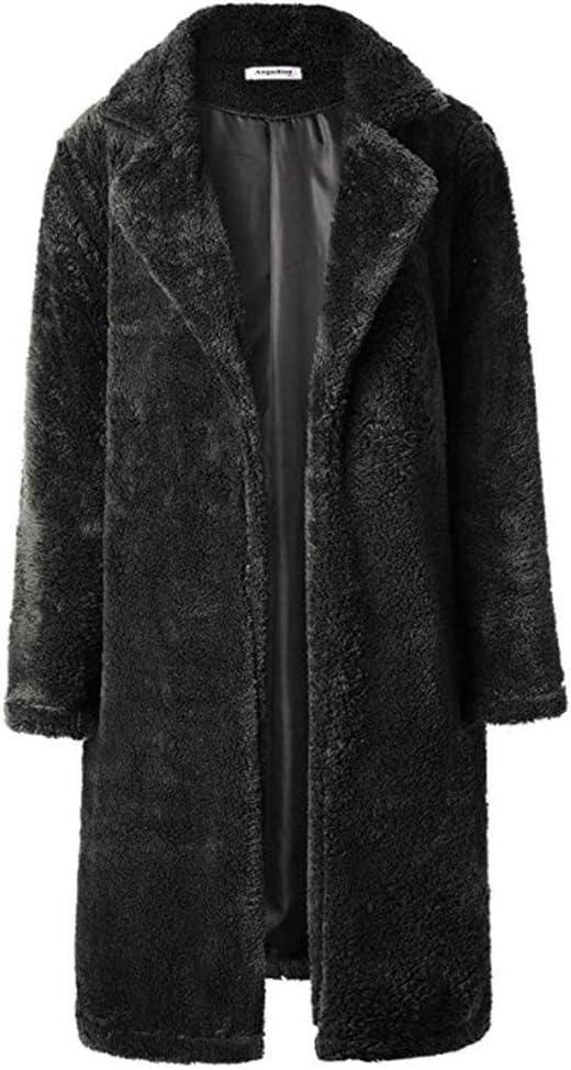 Hzikk Lapel Women's Plush Overcoat Sweatshirt Fur Coat Women Warm Soft Thick Jacket,Black,XL