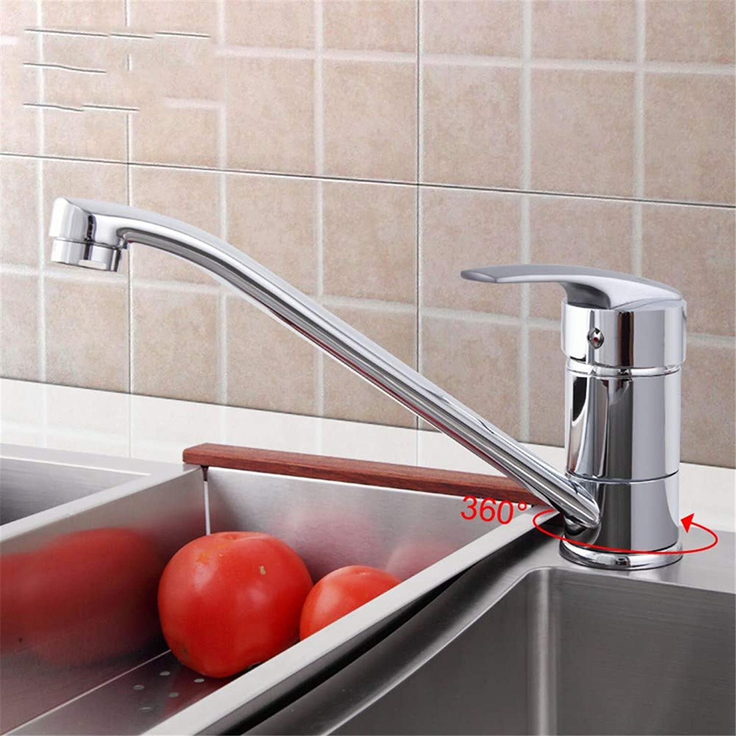 Classic Style Kitchen Faucet Solid Brass Single Handle Cold and Hot Water Tap 360 Degree redation F4906