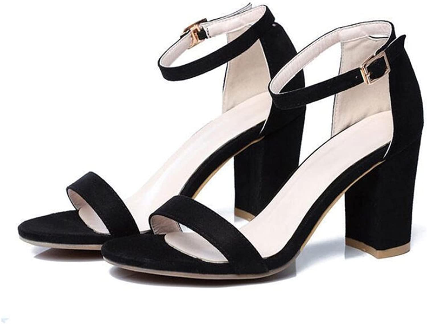 Women's shoes Suede 2018 Summer Basic Pump Heels Buckle Open Toe for Casual Sandals