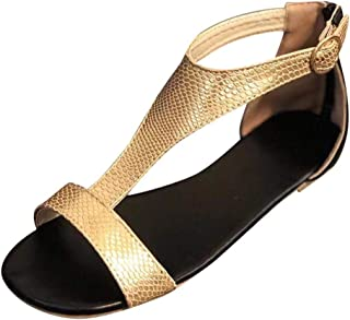 Ankle Buckle Strap Sandals Women Breathable Beach Open Toe Dress Flat Shoes