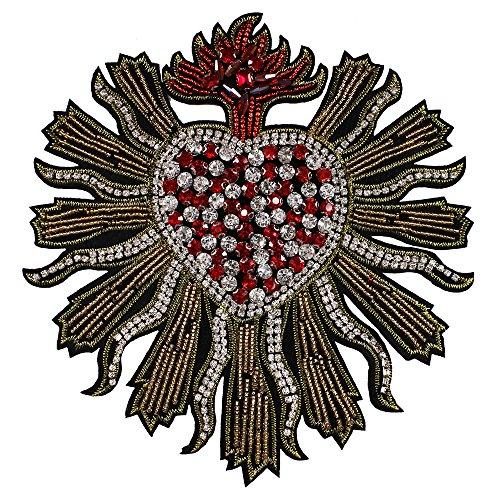 1pieza de corazón de cristal hecho a mano con cuentas brillantes diseño parches coser en insignia apliques accesorios de costura Ropa decorado A