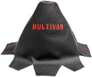 The Tuning-Shop Ltd For VW Transporter T5 2010-2015 Manual Shift Boot Black Italian Leather Multivan Edition Embroidery