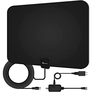 Amplified HD TV Antenna, Digital Indoor HDTV Antenna Up to 120 Mile Range, 4K HD VHF UHF Television Local Channels Detachable Signal Amplifier and 16.5ft Longer Coax Cable