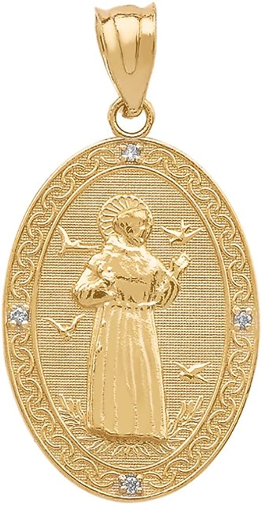 14k Gold Saint Francis of Assisi Tucson Mall low-pricing Oval Medal Pendan Charm Diamond