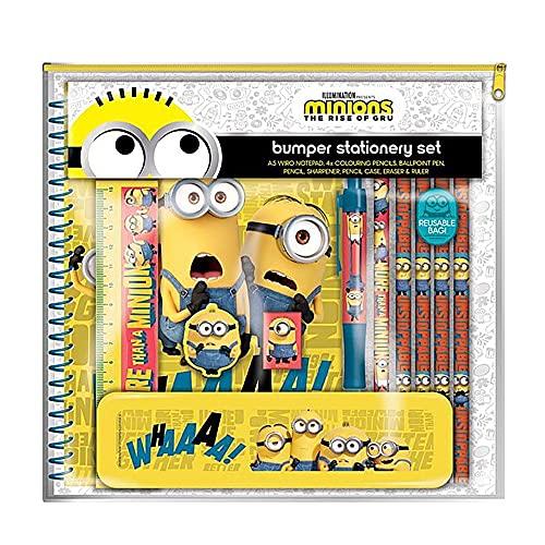 Minions 2 The Rise of Gru Bumper - Juego de papelería para lápiz y borrador