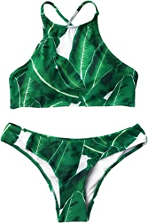 Women's Forest Leaves Printing Tank Padding Bikini Set