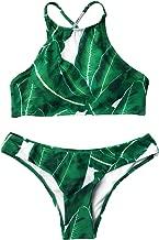 CUPSHE Women's Forest Leaves Printing Tank Padding Bikini Set