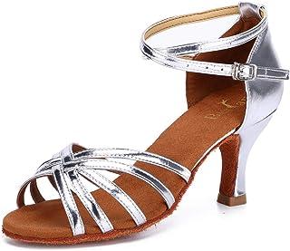 Twist - Zapatillas de Baile (satén, Suela de Piel, Trenzado en Cruz, Antideslizantes, con Hebilla, Talla 7 cm), Color Plat...