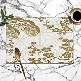 Conjunto De Manteles Individuales Oro Cerezo En Flor Japonés Chino Poliéster Mesa De Comedor Manteles Individuales Manteles Individuales Cocina Imprimible Estera Vívida Conjunto C