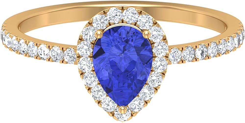 5X7 MM Pear Cut Lab Max 43% OFF Created Ring Special price for a limited time Moissanite Tanzanite Ha D-VSSI