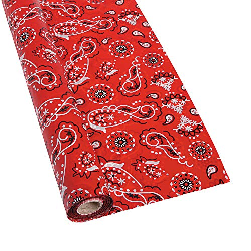 Fun Express Red Bandanna Tablecloth Roll (100 Foot Disposable Plastic roll) Cowboy Western Party Supplies