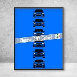 Subaru WRX STI Poster Print Wall Art of the History and Evolution of the Subie STI Generations