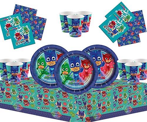 PJ Masks Party Vajilla Kit de Fiesta Infantil de cumpleaños para 16 - Globos, Bomba,...