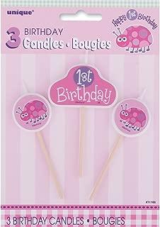 Ladybug 1st Birthday Candle Set, 3pc