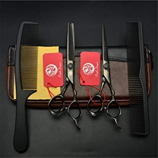 Professional Barber High-End Black 6,0 Inch Hair Snijden Scharen Verdunnende Shears 9CR Steel 4 delige Set kappers Stylist...