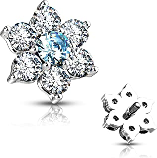 MoBody 14G Clear CZ Flower Dermal Anchor Top Surgical Steel Internally Threaded Dermal Anchor Body Piercing Top