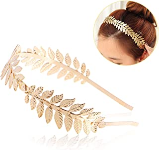 NUOLUX Bridal Hair Crown Roman Goddess Leaf Branch Dainty Head Dress Boho Alice Band (Gold)