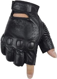 HAOSHUAI lederen handschoenen, motorhandschoenen, druppelproof, halve vingerhandschoenen, persoonlijkheid, beschermende handschoenen, zwarte Ridding handschoenen (Maat : XXL)