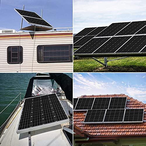 HQST 100 Watt 12V Monocrystalline Solar Panel with Solar Connectors, High Efficiency Module PV Power for Battery Charging Boat, Caravan, RV and Any Other Off Grid Applications