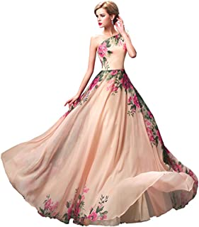 Floral Print Graceful Chiffon Bridesmaid Prom Dress for Women,Multi Colored
