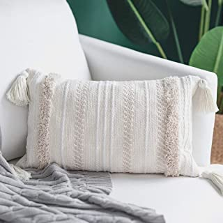 blue page Lumbar Small Decorative Throw Pillow Covers for Couch Sofa Bedroom Living Room, Woven Tufted Boho Pillows Cover with Tassels, Cute Farmhouse Pillows Case (12X20 inch, Yellowy Cream)