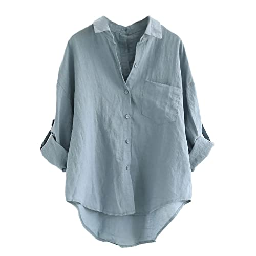 56671a49260 Minibee Women s Linen Blouse High Low Shirt Roll-Up Sleeve Tops