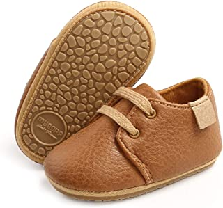 SOFMUO Baby Boys Girls Lace Up Leather Sneakers Soft Rubber Sole Infant Moccasins Newborn Oxford Loafers Anti-Slip Toddler Wedding Uniform Dress Shoes