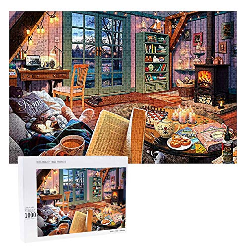 Puzzles 1000 Pieces Wooden Puzzles for Adults Kids - Quiet Evening Jigsaw Puzzle Toy(11.81in x 8.26in)