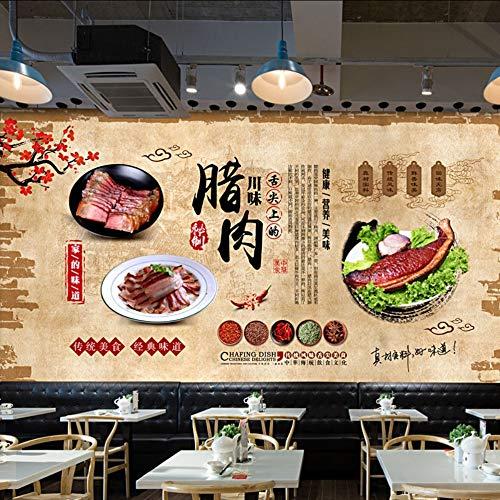 Dalxsh Vintage Chinese Stijl Voedsel Sichuan Smaak Zout Vlees Restaurant Achtergrond 3D Wallpaper Murals 350x250cm