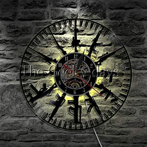 Reloj de pared de vinilo Bullet Time Discos de vinilo para colgar en la pared Pistolas para relojes Pistolas para relojes de pared militares Relojes familiares Soldado y fanáticos militares Regalo 12