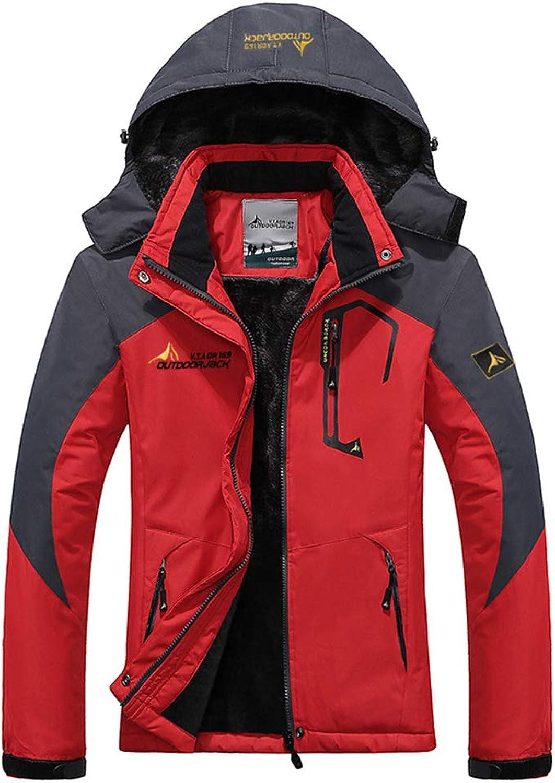 BaronHong Warm Velvet Women Mountain Waterproof Ski Jacket Windproof Rain Jacket Beige