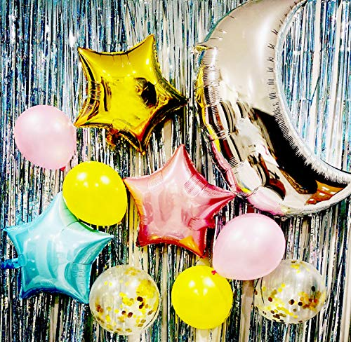 20 pcs Foil Moon Balloons Set,Star Balloon and latex balloon Perfect for Birthday Party Baby Shower Decoration (20 pcs) (blue-Pink-Gold Set moon)