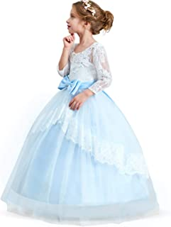 Girls Embroidery Princess Dress Wedding Birthday Party Long Tail Prom Gowns