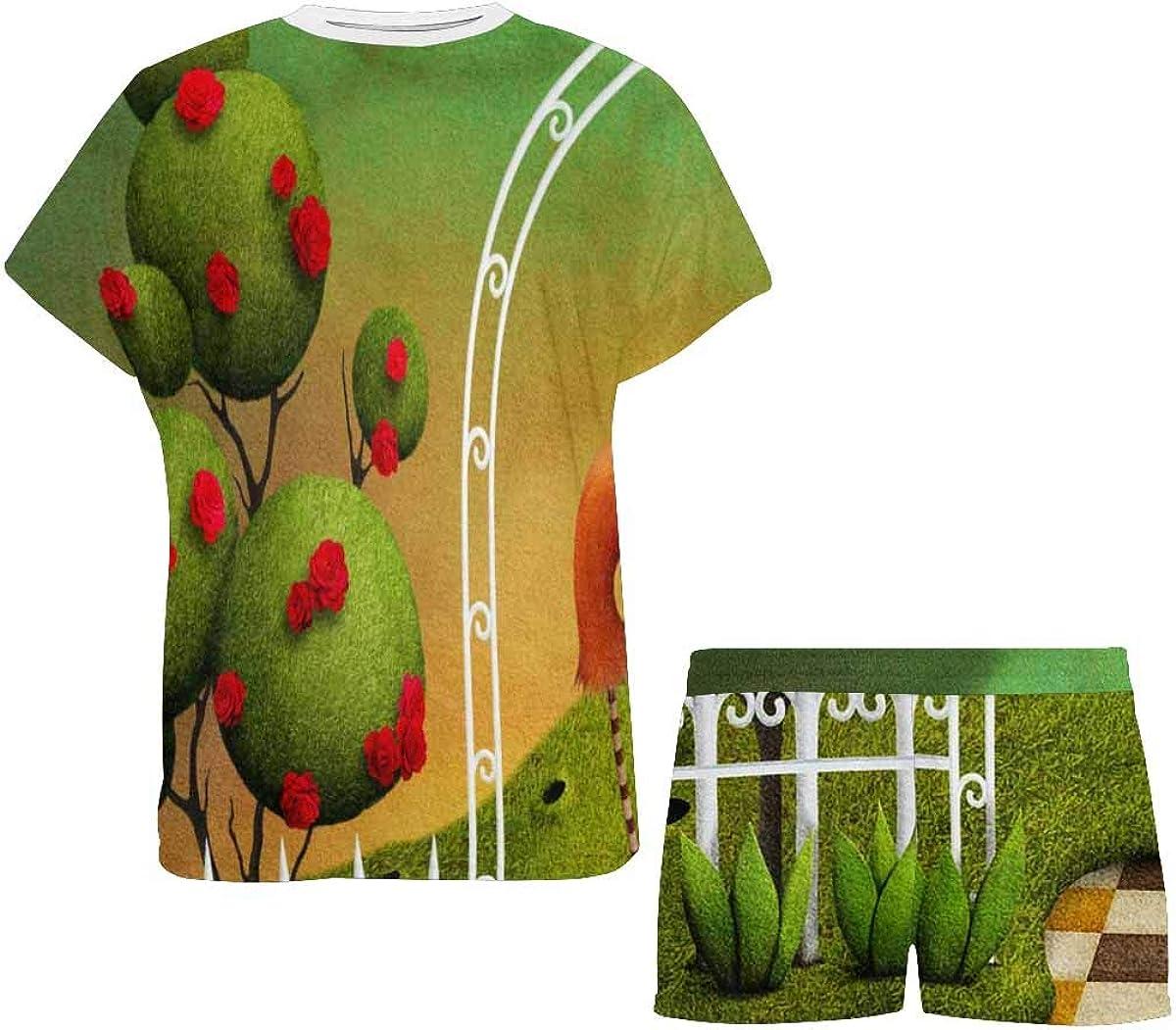 INTERESTPRINT Flamingo and Trees with Roses Women's Pajamas Short Sets Round Neck Short Sleeve Sleepwear
