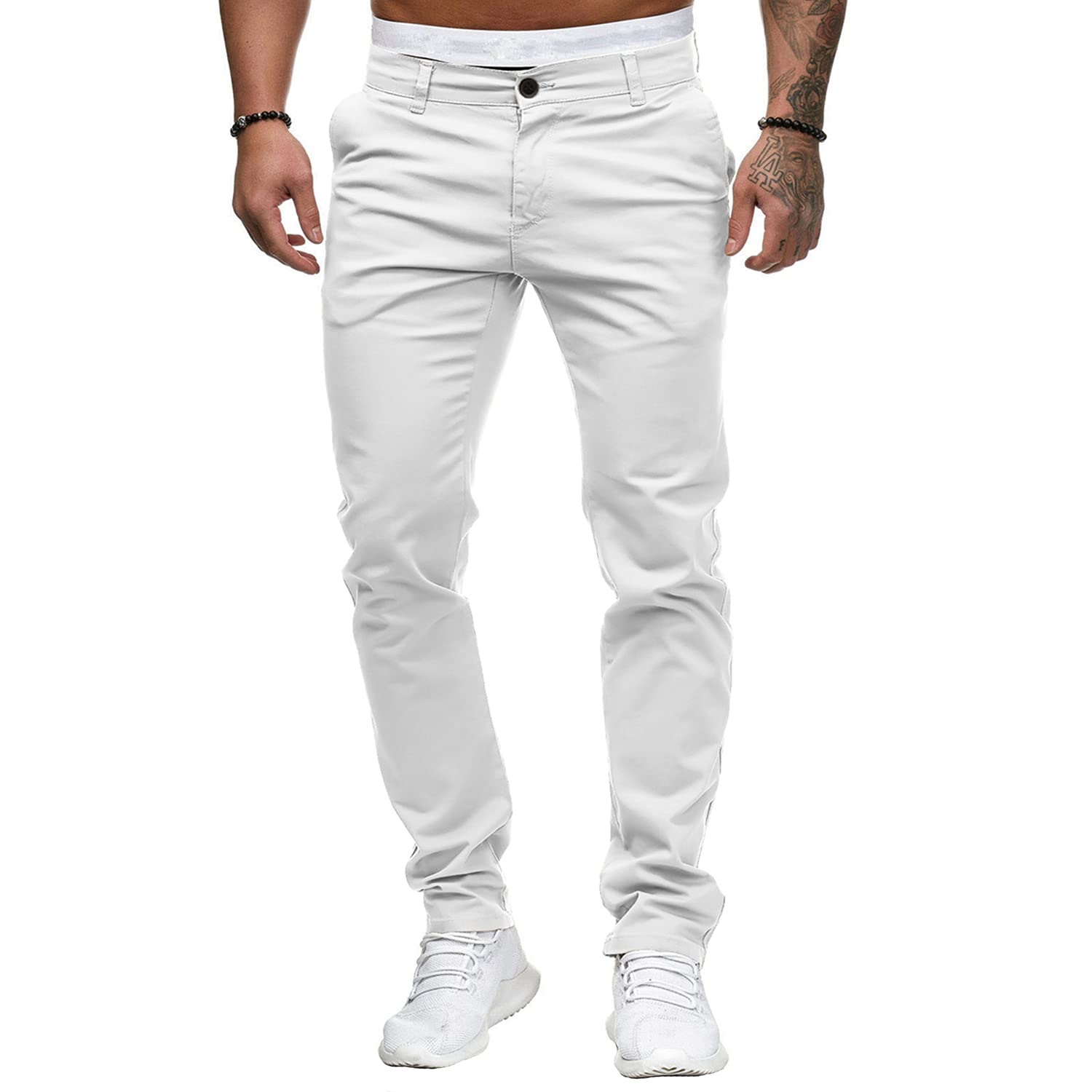 Men's Straight Personality Trendy Casual Pants Cotton Slim Fit Leg Fashion Pants Stylish Stretch Skinny Pencil Trousers (White,Large)