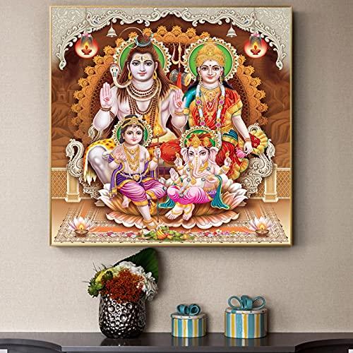 PóSter De Pared Impreso Lord Ganesha Laxmi Saraswati Pintura Sobre Lienzo Impresiones Dios Ganesha PóSter Cuadro De Arte De Pared DecoracióN Del Hogar 80x80cm Sin Marco