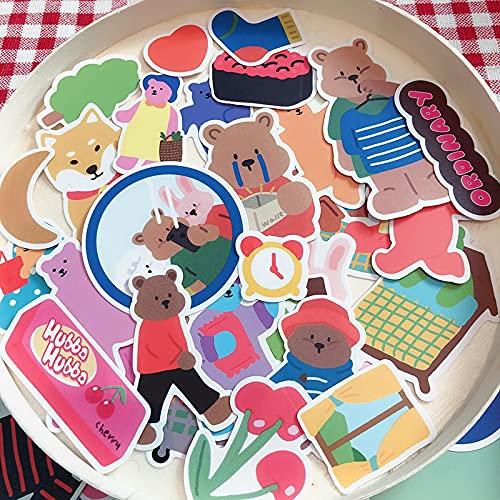 YMSD 80 unids bebé oso universidad manual etiqueta engomada caja de regalo manual chica corazón personaje material etiqueta engomada DIY patrón decorativo