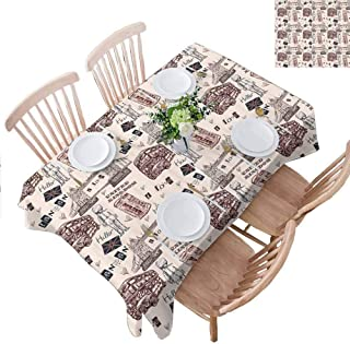 PINGYEHOME Easter Tablecloths, City UK Landmarks Resistant Tablecloth Dust-Proof Table Cover for Kitchen Dinning Tabletop Decoration, W52 x L84 Inch