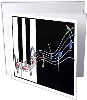 3dRose Muli colored Music Notes on Piano Keys - Greeting Car