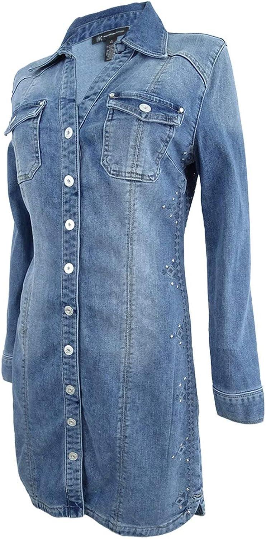 I.N.C. International Concepts Women's Embroidered Denim Shirtdress