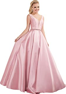MYDRESS Deep V-Neck Prom Dresses Long Satin Beaded A-line Formal Evening Gowns with Pockets