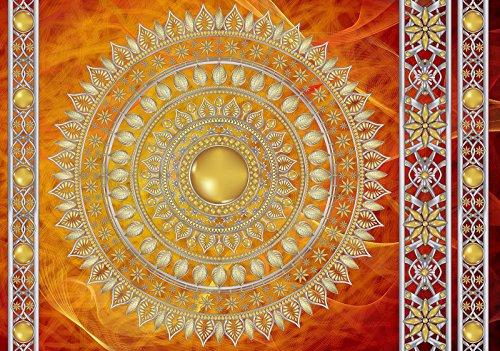 DekoShop Fototapete Golden Mandala in Rot Wandtapete - P8 (368cm. x 254cm.) Moderne Wanddeko Design Tapete AMD10119P8 Imitation, Struktur und Textur Wohnzimmer Schlafzimmer