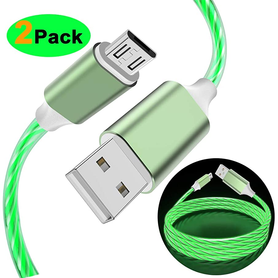 LG Charger Micro USB Visible LED Flowing Lighting Up Fast Charger Syncing & Data Cord for Samsung Note 5 J7 Tablet, LG K30 K8 K10 2018, HTC, Motorola, Nokia, Sony and More Android Devices (Green)