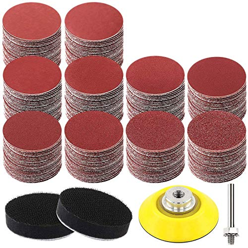 ADIGA 300Pcs 2 Inches Sanding Discs Pad Kit for Drill Grinder Rotary Tools with Backer Plate Shank and Soft Foam Buffering Pad