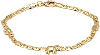 18K Gold Plated Flat Marina Elephant Anklet, 10 Inches