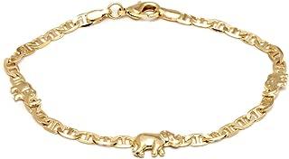 Barzel 18K Gold Plated Flat Marina Elephant Anklet, 10 Inches