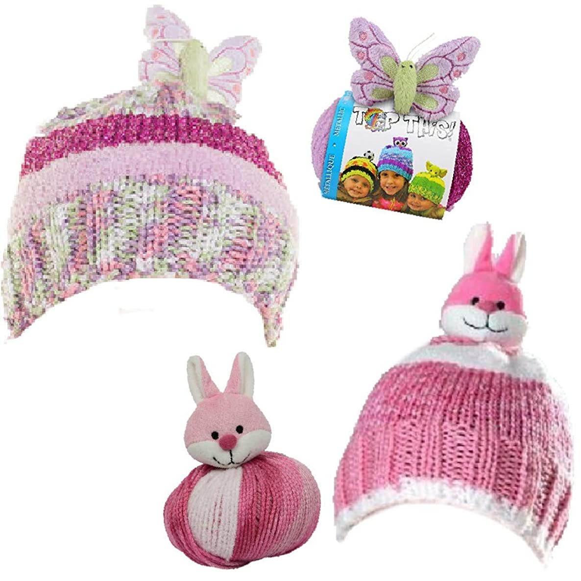 2 Yarn Making Hats Kits Bundle: DMC-Top This! - Bunny and Metallic Butterfly
